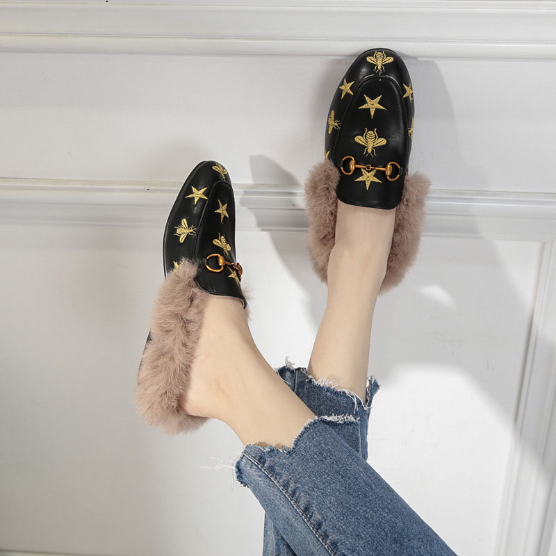 Fashion Ladies Outdoor Fur Women Slippers Flat Shoes Woman Warm Mules Shoes Slides Casual Shoes Female Slippers Flip Flops Women bailehou flats casual woman slippers fashion fur women shoes slip on mules female loafers shoes outside slides ladies slippers