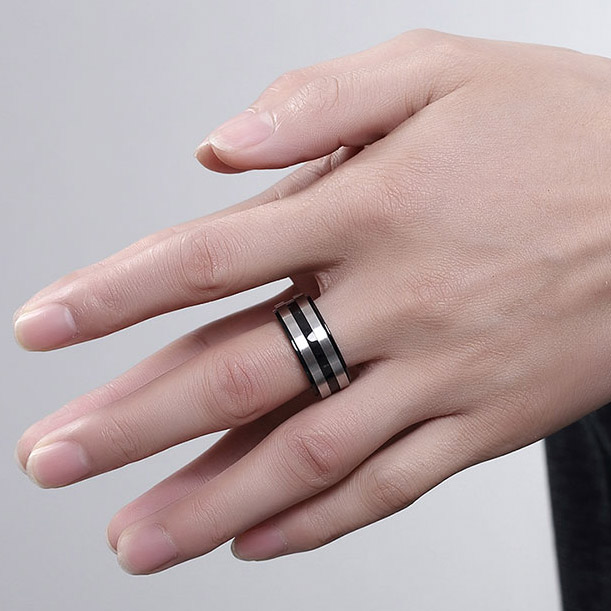 Ustar New Black Finger Rings Men Jewelry 10mm Anium Steel Band Silver Wedding Party Anel Bijoux Top Quality In Bands From