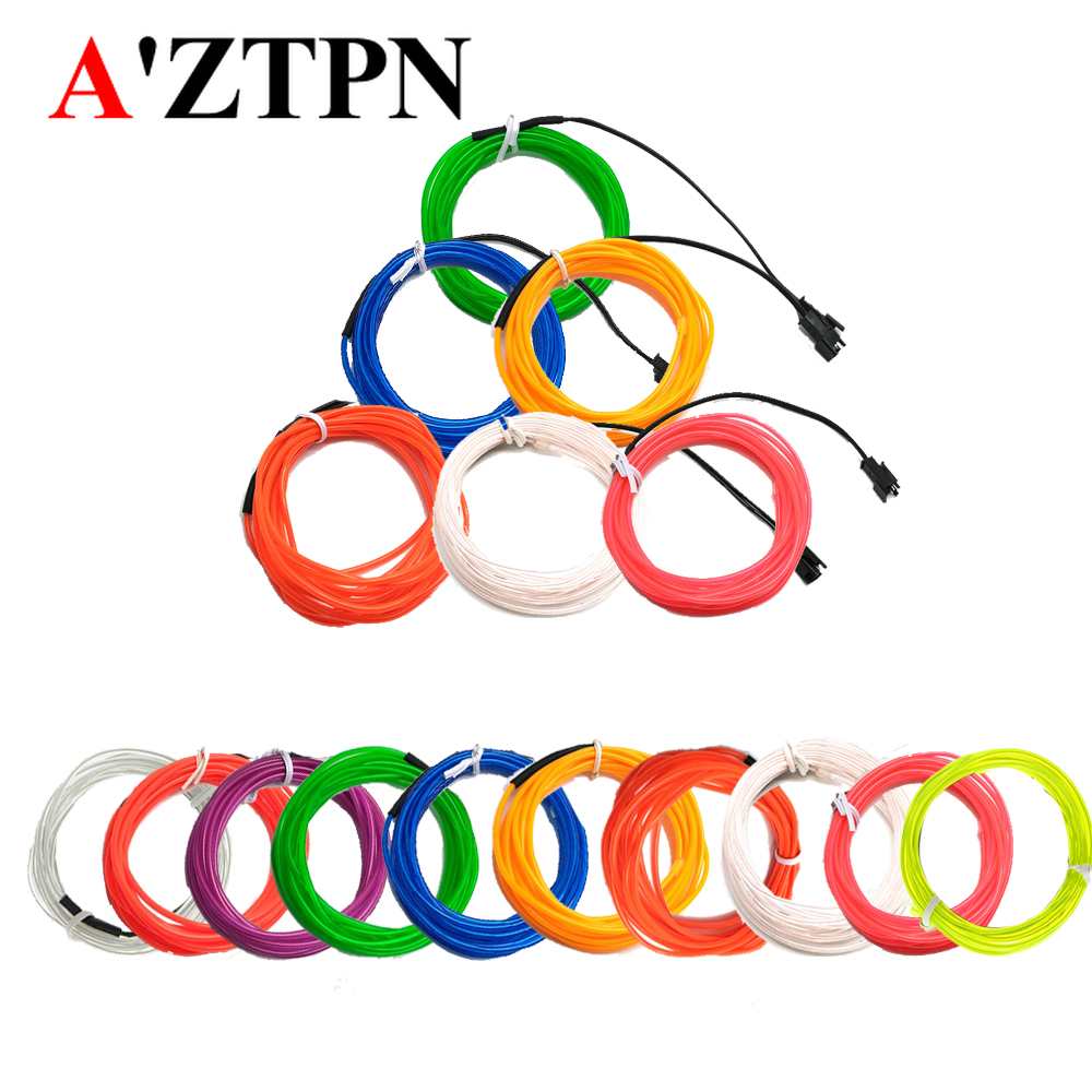 1M 2M 3M 5M EL Wire Neon Led Glowing Strobing Strip Lights Halloween Christmas Dance Party Decor Striping Light DIY Wire 2.3MM