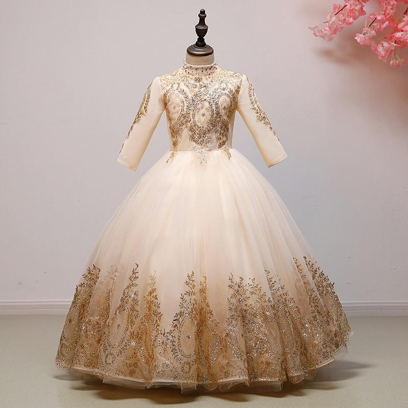 Fille Boutique robe de demoiselle d'honneur robes enfants tenue de fête de mariage robes adolescents demoiselle d'honneur robes de bal perles broderie Drese - 4