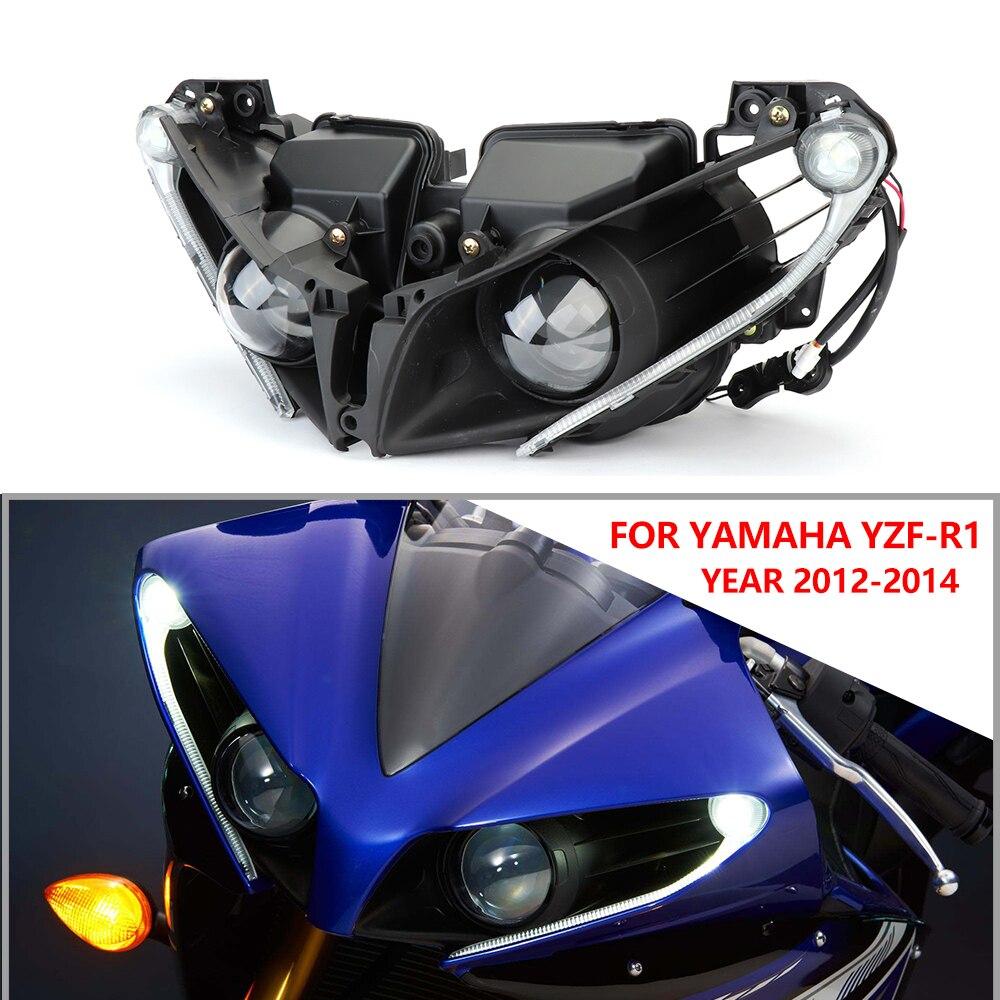KEMiMOTO For Yamaha YZF R1 Headlight Lamp Head Light Housing For Yamaha YZF-R1 2012 2013 2014 R1 100% Brand New Motorcycle Parts
