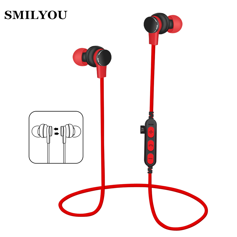 SMILYOU T1 Sport Bluetooth Earphone for Phone Wireless Bluetooth Headset with Mic Wireless Earphones fone de ouvido TF card slot
