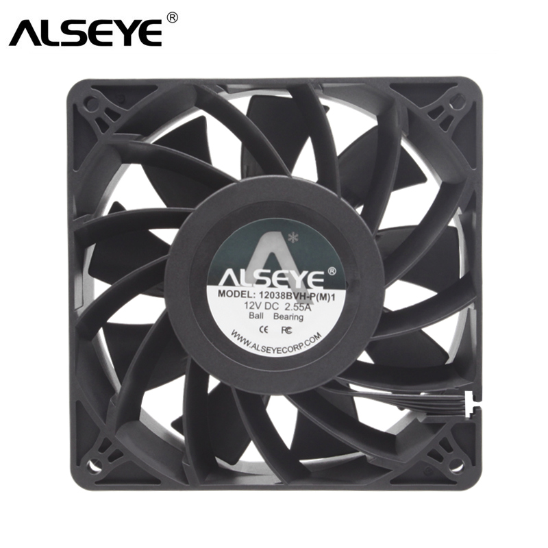 ALSEYE DC 12V Fan 120mm Powerful Cooling Fan 12038 PWM 4600RPM 205CFM Ball Bearing and Copper Hub Fans for Mining free delivery original afb1212she 12v 1 60a 12cm 12038 3 wire cooling fan r00