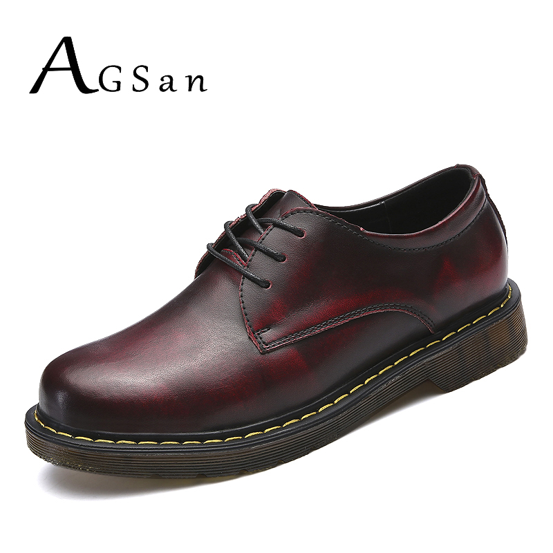 AGSan genuine leather work shoes men burgundy font b oxfords b font hombre zapatos leather lace