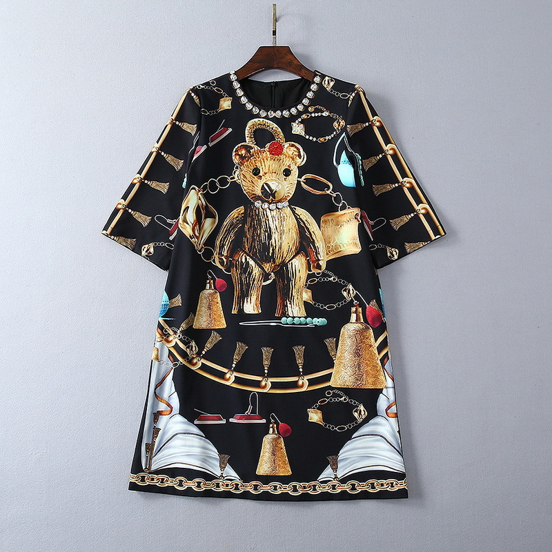 European and American women's fashion 2019 spring new style Five minutes sleeve heavy industry nail bead Bear printing dress