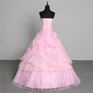 Image 2 - 3 צבע פרחים חדש 2020 קוריאני סגנון מתוק Stapless נסיכת חתונה שמלה בתוספת גודל ורוד רטרו לוטוס כלה שמלת Vestidos דה