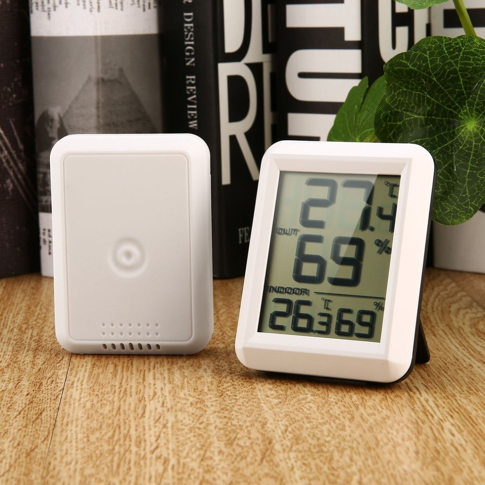 Digital LCD Wireless Thermometer Hygrometer with Transmitter Temperature Humidity Testing Meter Indoor Outdoor Weather Station wireless weather station digital color lcd thermometer forecaster clock indoor outdoor humidity meter with remote sensor 50% off