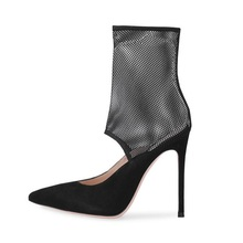 Mesh High Heels Boots Women Hollow Out Shoes Large Size EUR 34-46 Sexy Pointed Toe Ladies Nightclub Stilettos Suede Pumps Newest недорого