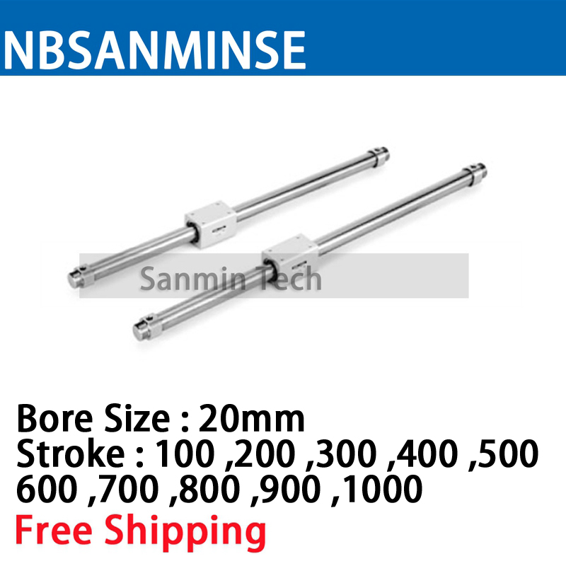 NBSANMINSE CY3B 20mm de diámetro acoplado magnéticamente sin vástago tipo básico SMC tipo neumático a comprimir aire cilindro