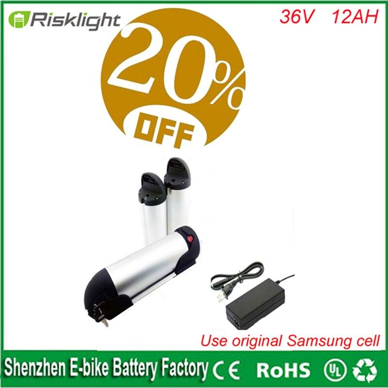 Vélo électrique Batterie 36 v 12AH Samsung bouteille D'eau li ion Biattery 36 v 500 w E-Vélo bouilloire batterie avec Chargeur + BMS