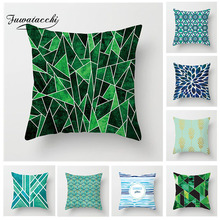 Fuwatacchi Geometric Patchwork Cushion Cover Green and White Striped Pillow Cover Home Decorative Pillow Cover For Home Sofa