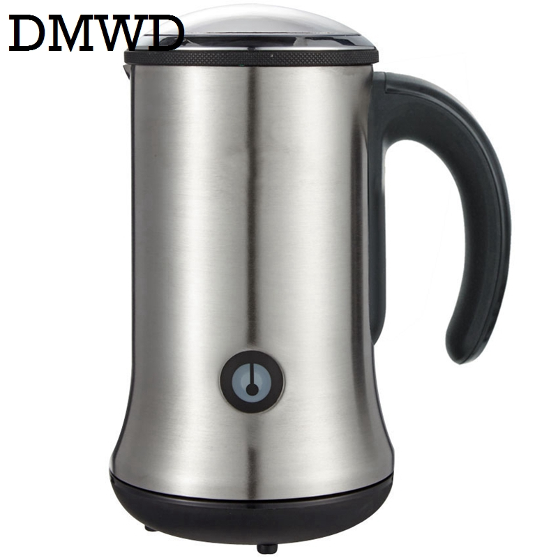 DMWD Electric bubble maker automatic Milk Frother Foamer mixer heater Latte Cappuccino hot Foam warmer fancy coffee Machine EU 220v commercial single double head milkshake machine electric espresso coffee milk foam frother machine bubble maker