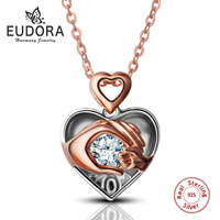 Eudora 100% Real 925 Sterling Silver Luxury Crystal AAA CZ Hand in Hand Heart Pendant Necklace Women Jewelry Gift CYD040