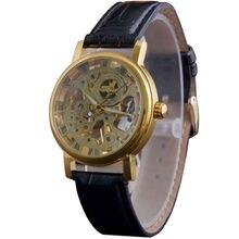 2015 Winner marca de moda de lujo Casual hombres del acero inoxidable reloj esquelético mecánico mano de viento reloj para hombre vestido reloj de pulsera