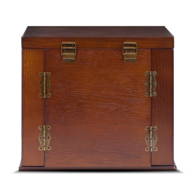 ROWLING Large Wooden Storage Boxes With Locks Key Jewellery Box Rings Earrling Bracelets Organizer 5 Layers