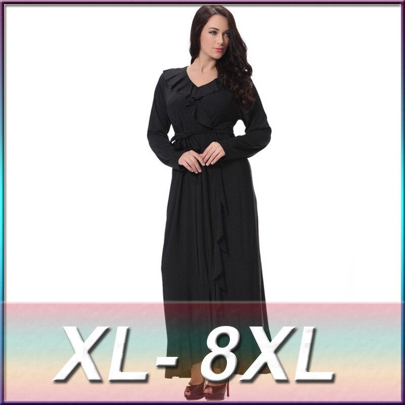 Sexy XL 8XL Large Plus Size Women s Maxi Long V Neck Black Dress Big Size  Summer Women Maxi Long Sleeve Ruffles Dresses robe-in Dresses from Women s  ... ead0b356905ed