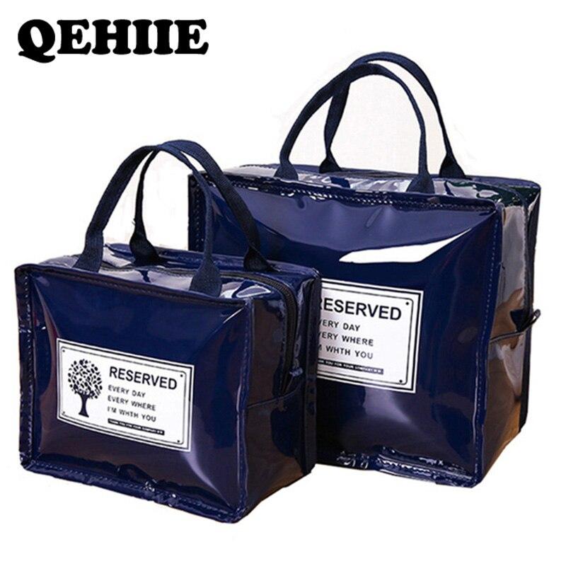 e036927c2 Bolsa de maquillaje de moda para mujer bolsa de cosméticos impermeable PU  bolsa de lavado portátil organizador multifuncional Negro Bolsa de aseo