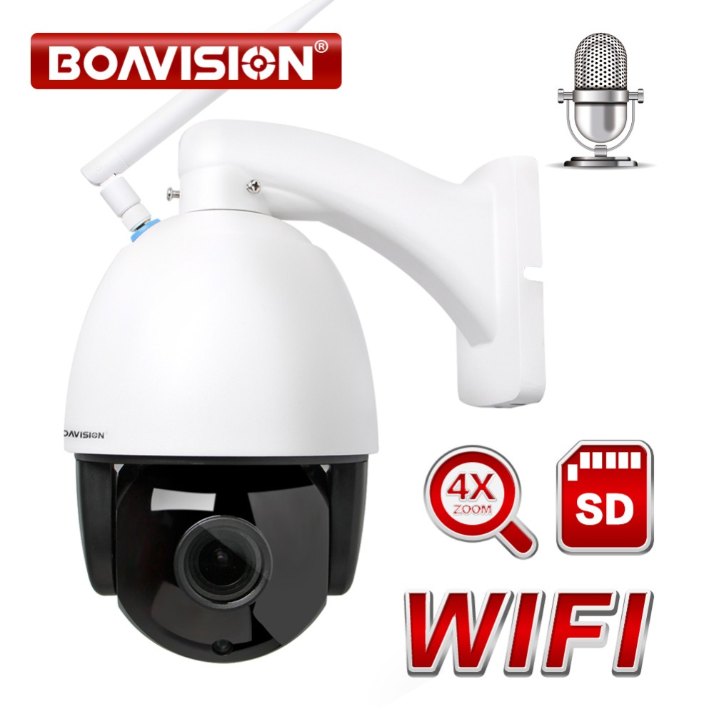 Wireless PTZ Speed Dome IP Camera WIFI Outdoor 960P 1080P 4X Zoom CCTV Security Video Surveillance Camera Audio ONVIF IR 60M dome camera housing abs plastic ip camera casing for cctv surveillance security camera outdoor use cover case self make wistino