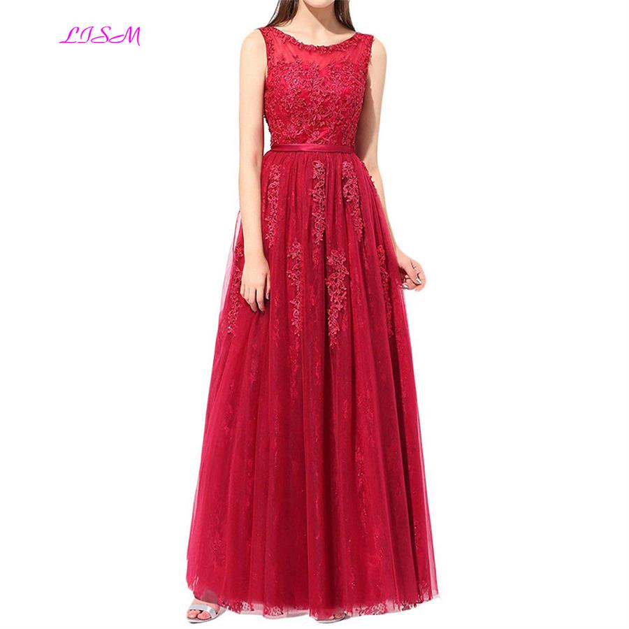 Real Photos O Neck Lace Long Red   Prom     Dresses   2019 Formal Party   Dress   For Graduation Plus Size Customer Made Bridesmaid Gowns