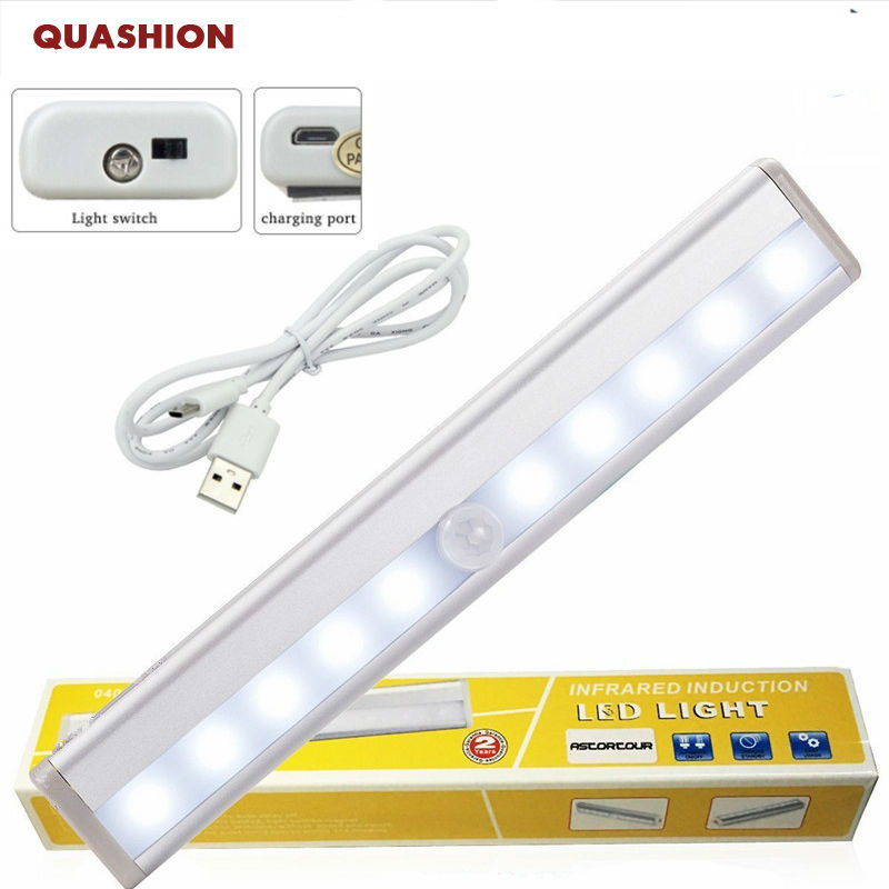 10 LED Wireless PIR Auto Motion Sensor Light Intelligent Portable infrared Induction Lamp Night Lights for Cabinet Hotel Closet led pir body automatic motion sensor wall light sensor night light usb rechargeable induction lamp for closet bedrooms