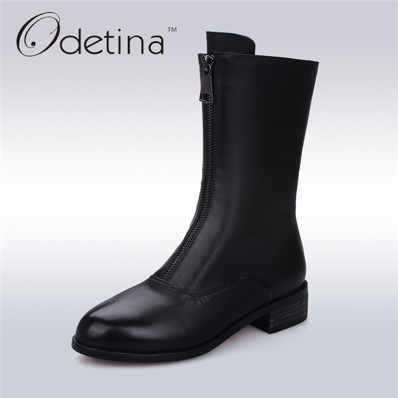 цены на Odetina Womens Winter Boots 2017 Riding Boots Fashion Motorcycle Black Women Autumn Shoes Handmade Mid Calf Leather Botas Mujer в интернет-магазинах
