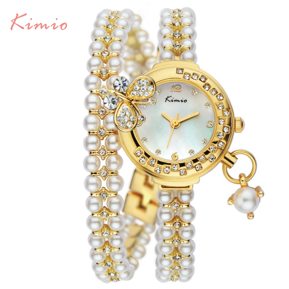 Kimio Brand Relojes Mujer Korea Luxury brand butterfly pearls bracelet Watch Women female Ladies Dress fashion Quartz Wristwatch luxury brand women diamond quartz watch ladies female dress wristwatch rotatable dial watche s montre femme relojes mujer