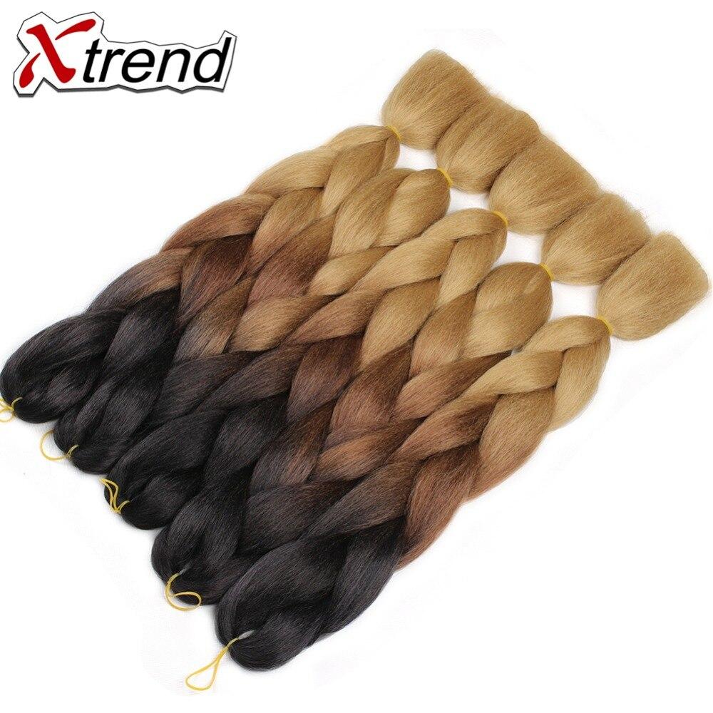 Xtrend 24inch Ombre Kanekalon Braiding Hair Extensions Synthetic Jumbo Braids Crochet Hair Bulk For Women Green Blue Grey
