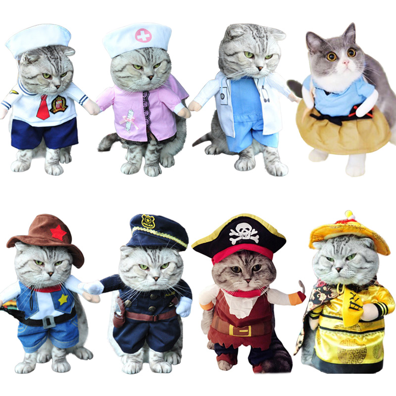 Suit Cat-Costume Dressing-Up Corsair Pirate Funny Cat Party Halloween For Clothing 31A1