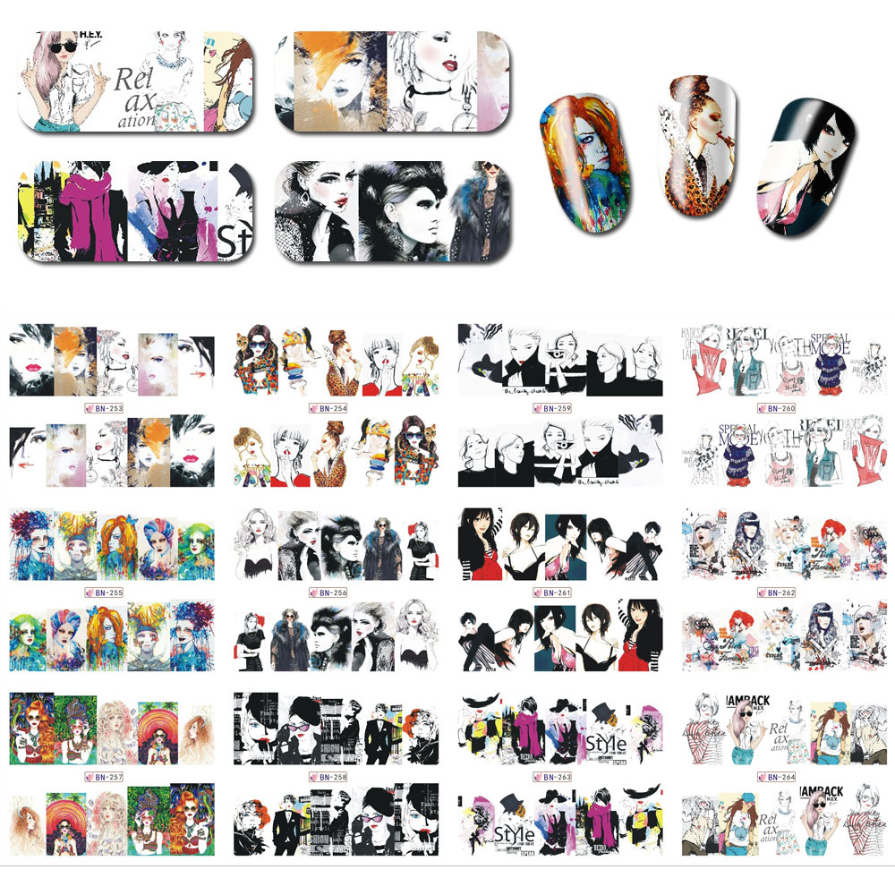 12sheets/lot 12Patterns Nail Water Decals Transfer Stickers Anime Woman DIY Nail Tips Nail Wraps  BN253-264