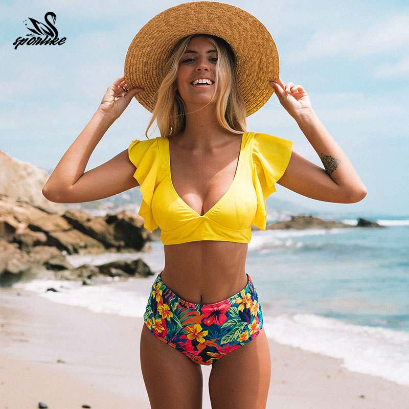 Floral Ruffled Hem Bikini Set Women Flora V-neck High-waisted Two Piece Swimsuit 2018 Girl Beach Bathing Suit Swimwear Biquinis(China)
