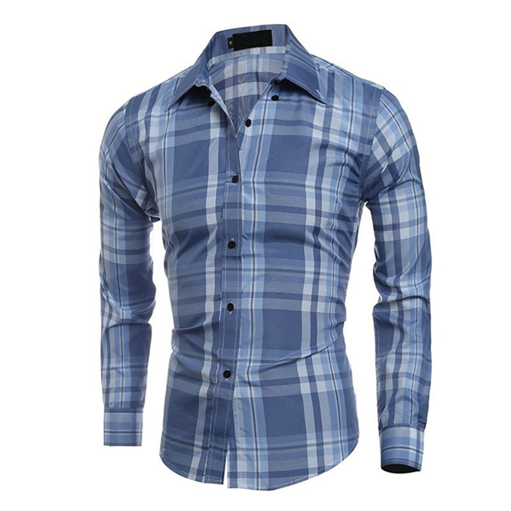 Classic Big Plaid Male Shirt New Spring Slim Long Blouse Plaids Printed Europe Business Office Blusa 2XL Turn-down Collar Tops