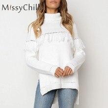 MissyChilli blanco borla franja partido suéter de punto mujeres hollow out  turtleneck sexy jumper otoño nuevo partido suéter c11801fc7e81