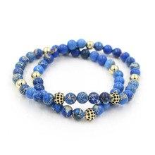 Faitheasy натуральный синий император микро циркония сверла мяч эластичные бусины Многоэтажный браслет украшение на нитке