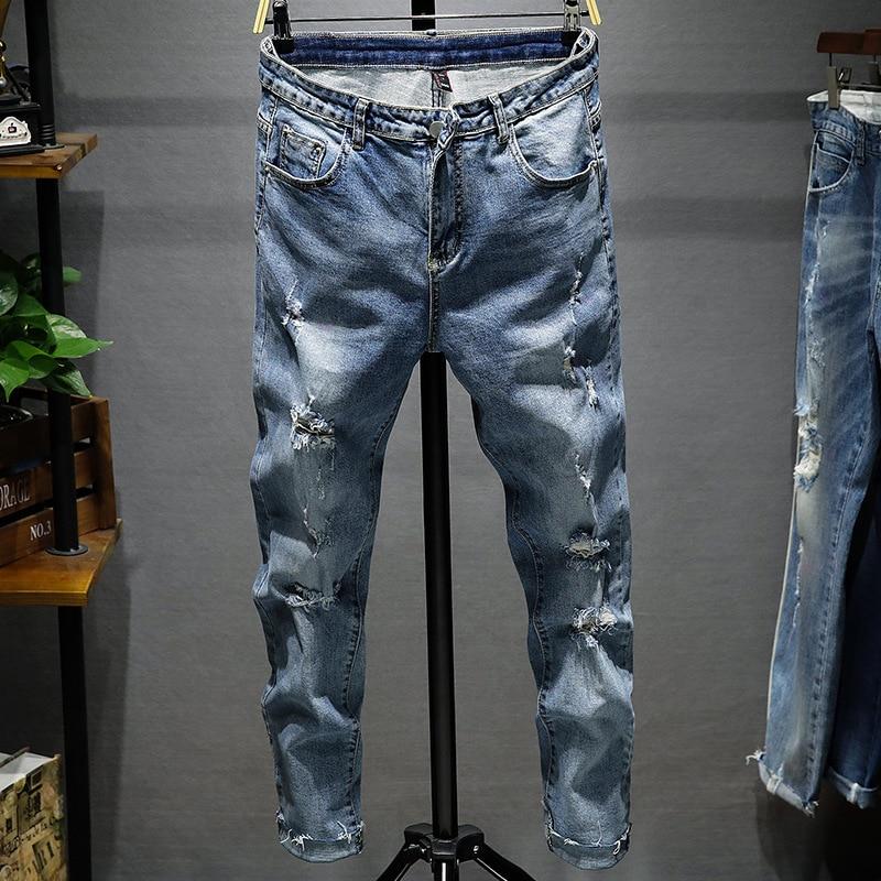 Fake Designer Clothes Limited 2019 Men's Casual Pants Men Quality Autumn Denim Hip Hop Work Long Trousers Jeans Straight