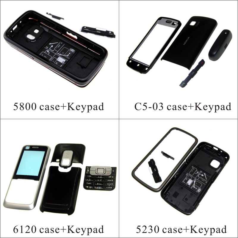For Nokia 5800 C5-03 6120 5230 Housing Front Faceplate Frame Cover Case+Back Cover/battery Door Cover+Keypad