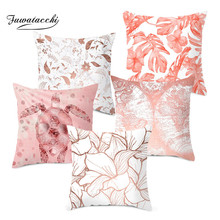Fuwatacchi Plush Pillow Covers Rose Gold Geometric Flower Glitter Polyester Sofa Decor Cushion Cover for Home Pliiowcase 45x45cm