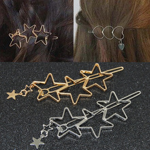 Star Heart Hair Decorations Gold Barrettes Hair Clips Hairpins For Women Girls Fashion Hair Styling Headdress Women Accessories 2pcs classic hair decorations scissor shear barrette hair clip hairpins for women girls hair styling headdress women accessories