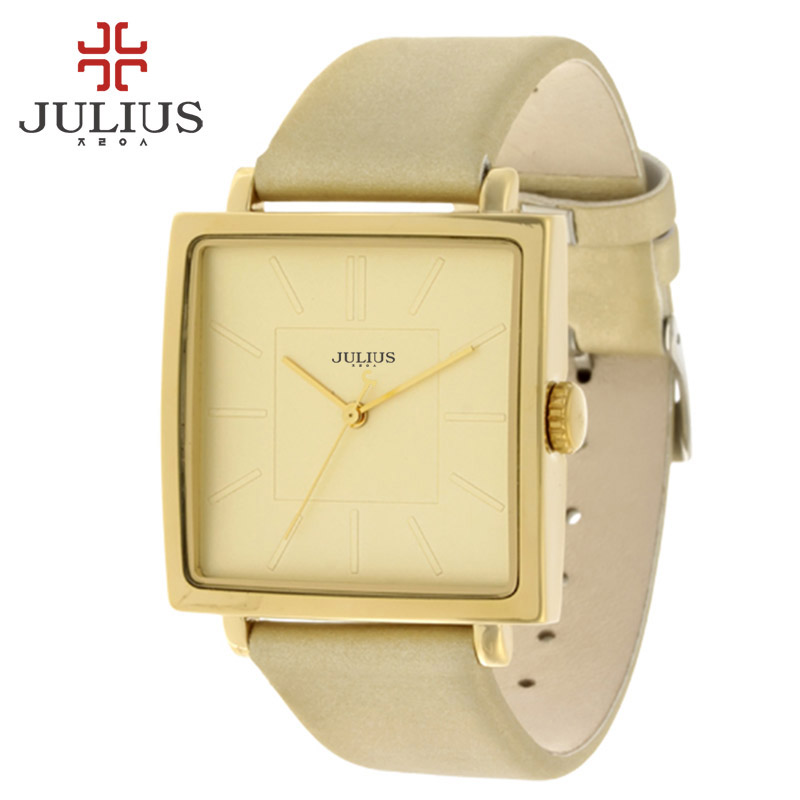Julius Brand Quartz Watches Women Luxury Rose Gold Antique Square Leather Dress Wrist watch Lady Watches Women Relogio Feminino top julius brand woman watch rose gold dress lady leather quartz watch girl watches clock creative barrel shape roman character