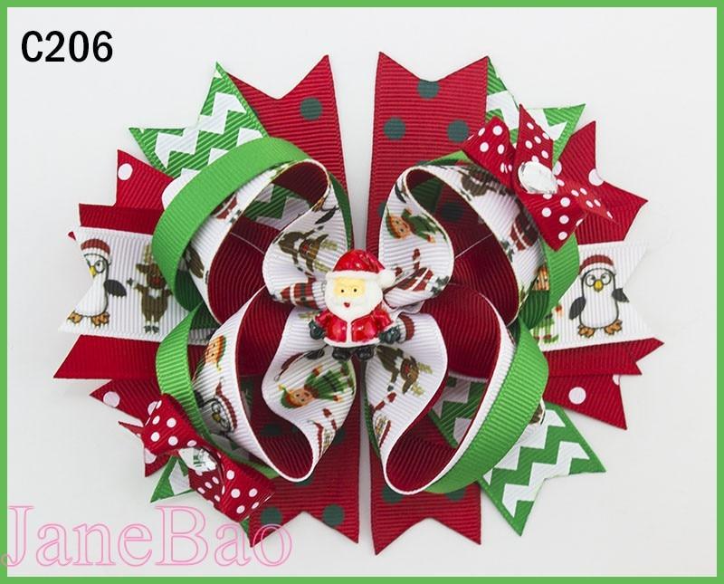 free shipping 60pcs christmas inspired hair bows Christmas hair bows santa clause big hair bows snowman