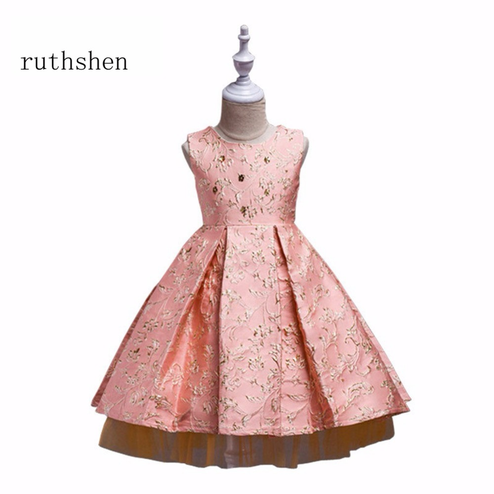 ruthshen Luxury Embroidery   Flower     Girl     Dresses   Kids Prom Party Ball Gown Floor Length Pageant   Dress   Vestidos de comunion 2018