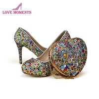 2018 Adult Ceremony High Heel Shoes with Heart Shape Clutch Handmade Mix Color Rhinestone Wedding Party Shoes Purse Plus Size
