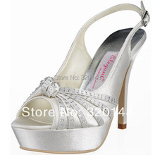 EP11060-PF Ivory Peep Toe Rhinestone Knot Platform Slingback Pumps Satin Women's High Heel Sandals Wedding Party Shoes Pumps
