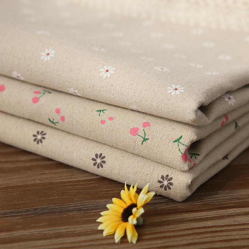 Hot Sale Pastoral Cotton Linen Bordduge Cherry Daisies Trykt Rectangulært Bord Cover Lace Edge Bordduk til bryllup
