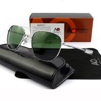 Pilot Sunglasses Men Top Quality Brand Designer AO Sun Glasses 55mm For Male American Army Military Optical Glass Lens ZY071