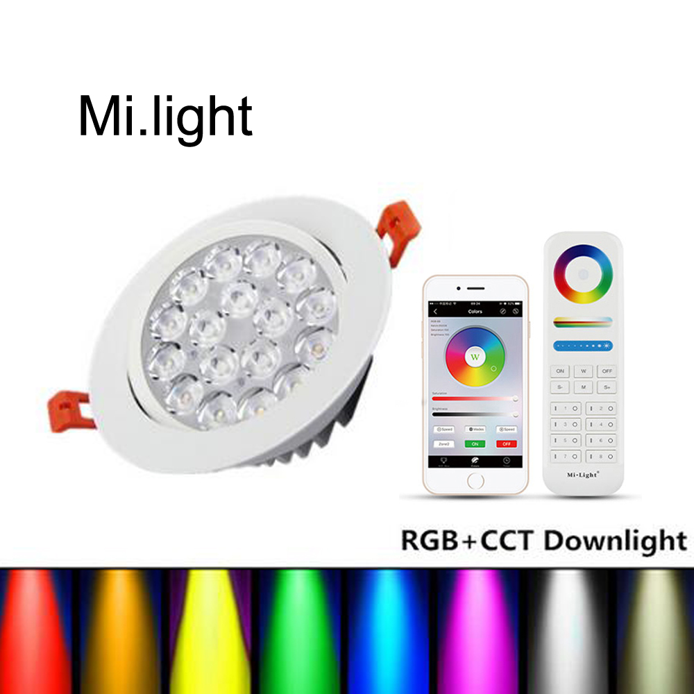 Mi Light LED Panel Lamp 9W WIFI 2.4G RF Remote Round Concealed RGB CCT Dimmable RGBW Lamp ceiling recessed down light AC 85-265V lww 1w 100lm 6500k white led ceiling lamp down light with led driver ac 85 265v