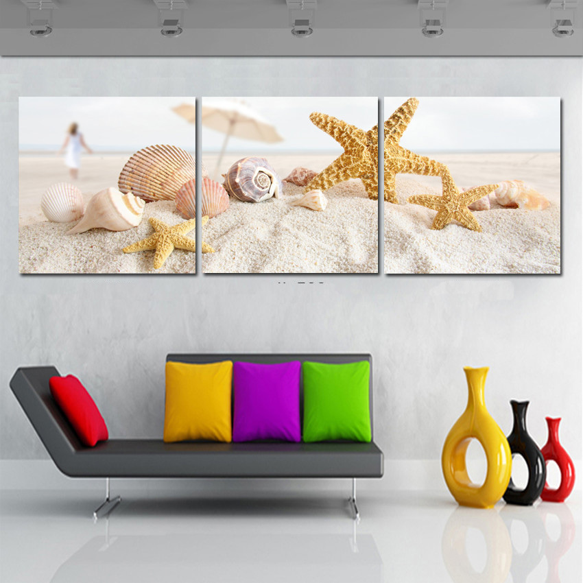 panel moderna lienzo de pintura de arena de la playa shell arte de la pared