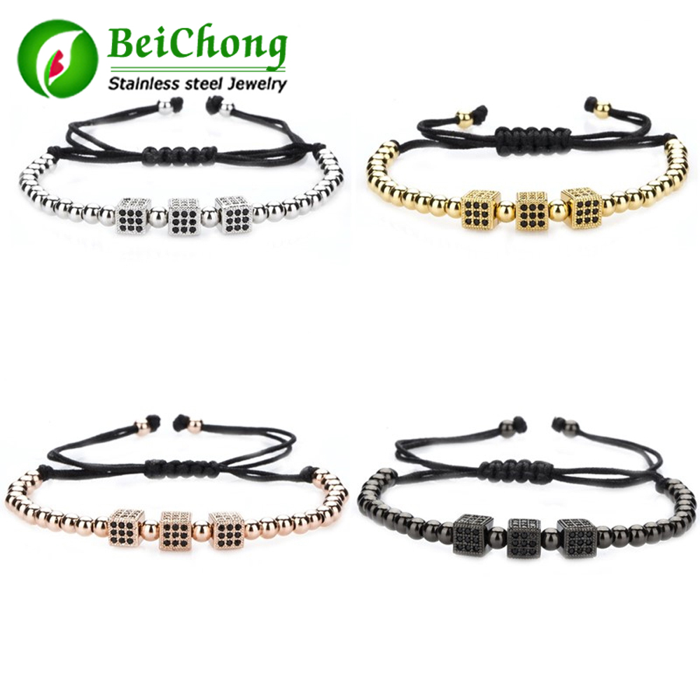 (10 pieces/lot) Macrame Bracelet Men Jewelry Pave Setting Black CZ Beads Braiding Marcrame Bracelet Men Jewelry Gift
