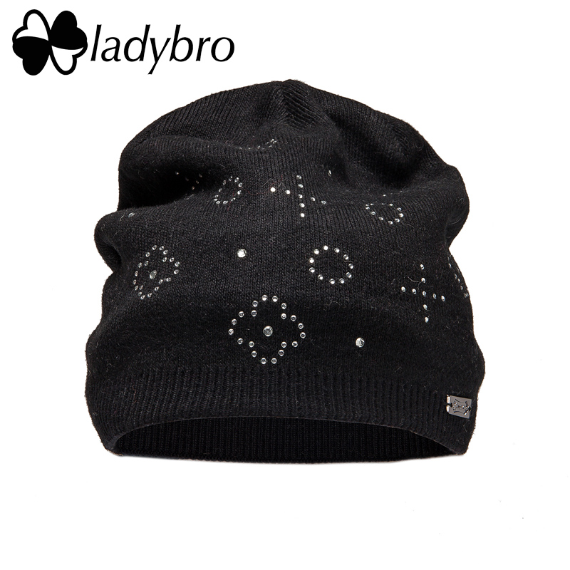 Ladybro Women Wool Hat Autumn Winter Flower Knitted Rhinestones Hat Skullies Beanies Cap Warn Lady Bonnet Femme Warm Cap Femamle wool hat women warm winter hats solid flower thick knitted lady beanies hat skullies bonnet femme bucket cloche winter cap 2017