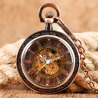 2017 New Mechanical Pocket Watch Steampunk Archaize Antique Copper Skeleton Carving Hand Wind Watches Unisex Gift