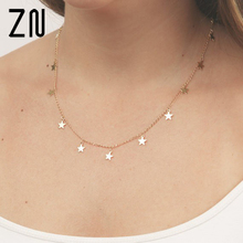 ZN Fashion Women Jewelry Natural Alloy The Five-pointed Star Pendant Necklace And Heart Woman Choker Necklaces